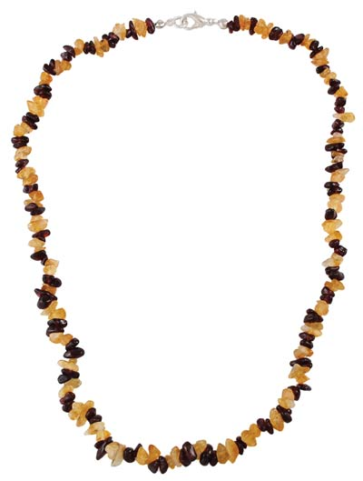 Garnet and Citrine Chip Clasped Necklace