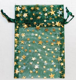 Small Green Organza Pouch with Gold Stars