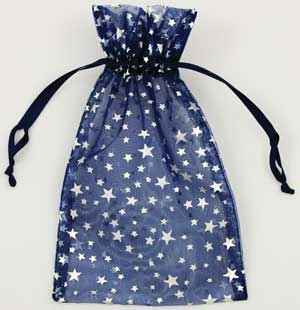 Large Blue Organza Pouch with Silver Stars